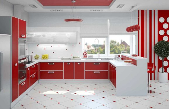 Бело красная кухня фото