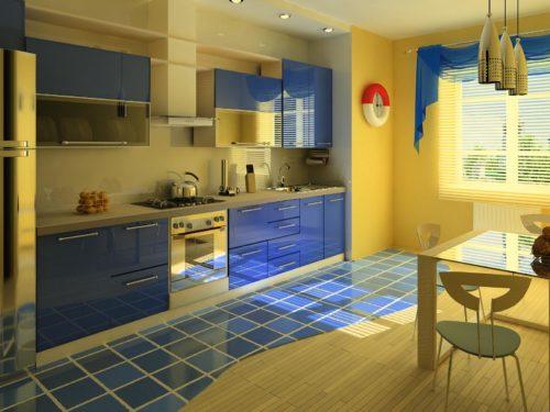 кухня с синими фасадами фото дизайн