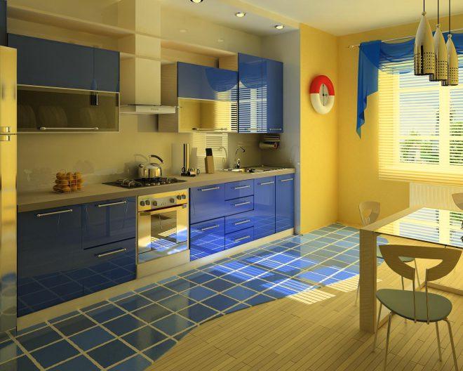 Кухня в морском стиле фото заказа Captain № 100