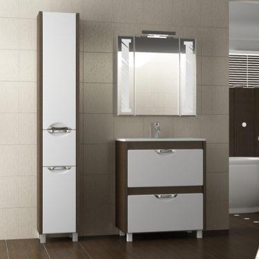 светлый шкаф пенал для ванной комнаты фото