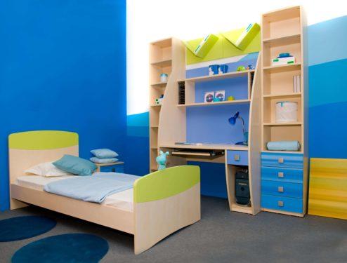 синяя мебель в детскую для мальчика фото