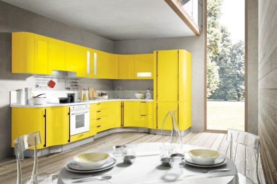Желтая маленькая кухня фото