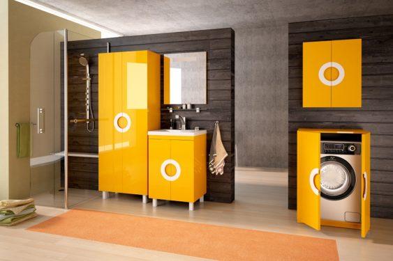 желтая мебель для ванной фото