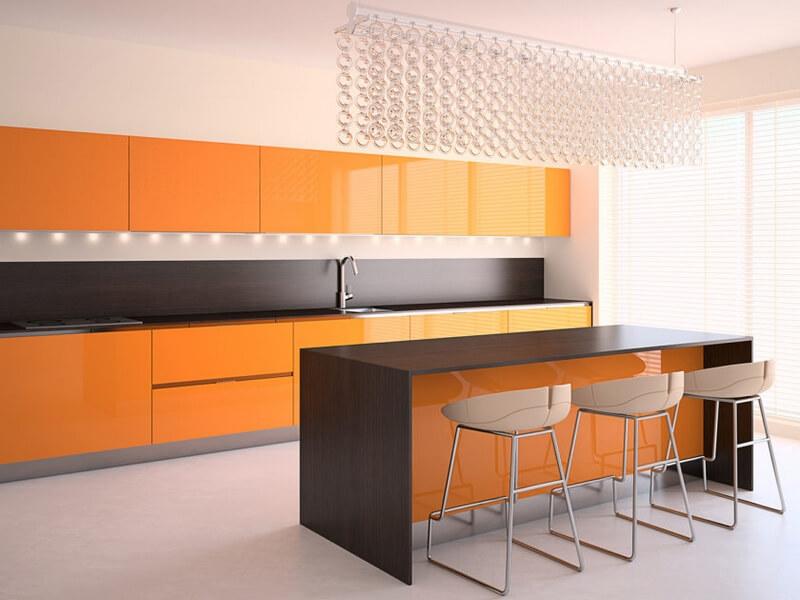 оранжевая кухонная мебель
