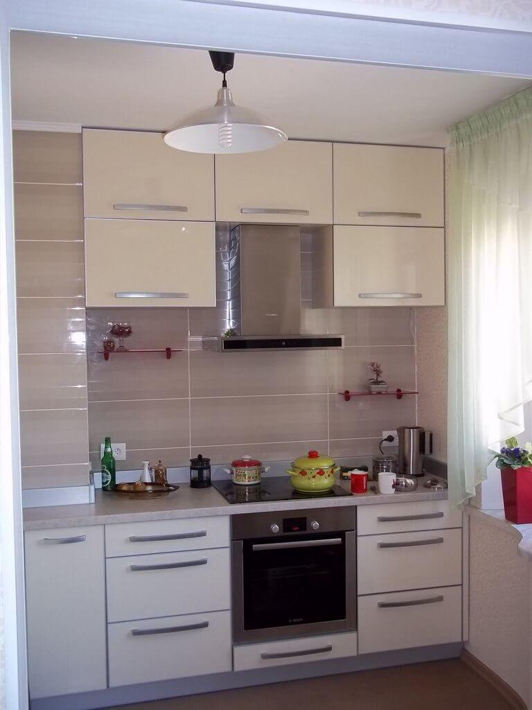 дизайн светло бежевой кухни фото
