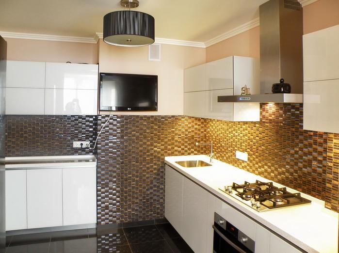 фото кухни белый глянец