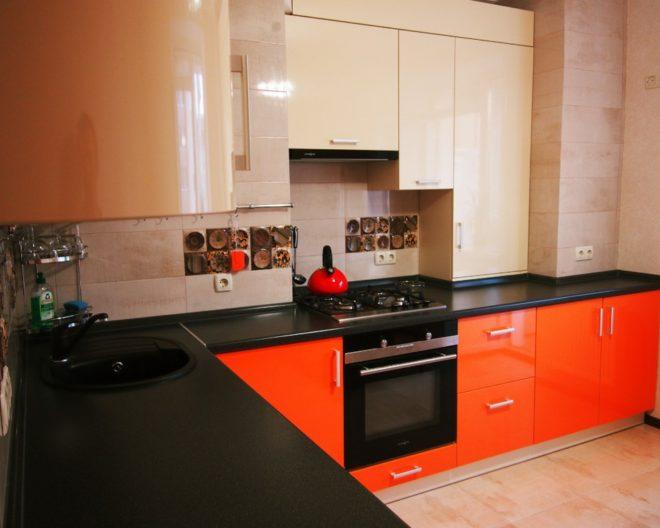 Оранжево черная кухня Enigma фото заказа № 79