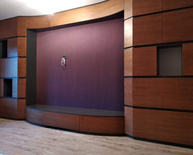 Шпонированная стенка в зал фото заказа № 313